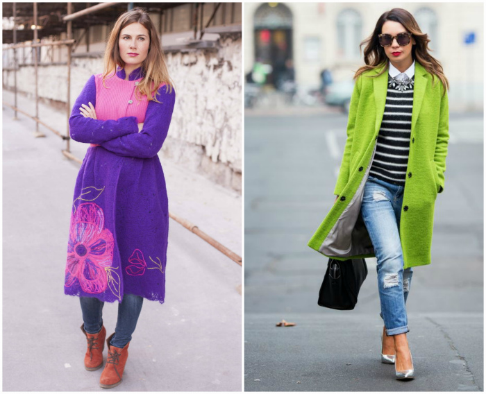 Яркие креативные пальто.