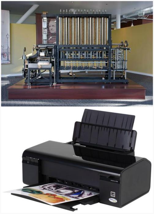 Первый принтер и современная модель.