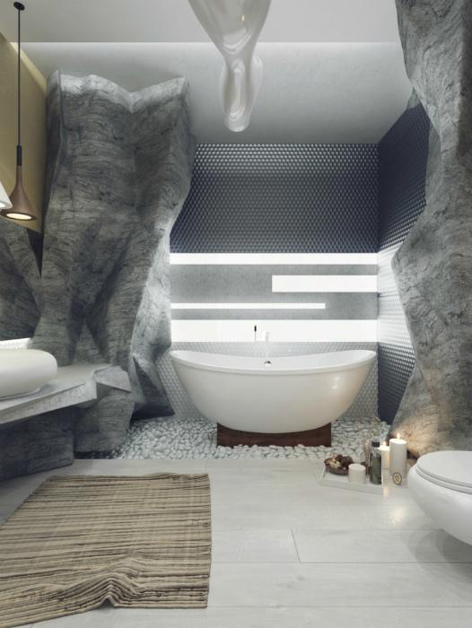 Ванная комната в футуристическом стиле.