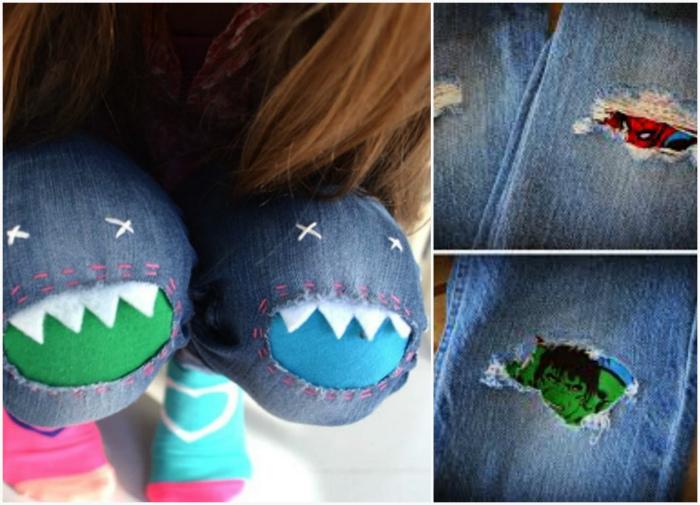 Забавные заплатки на детских джинсах.