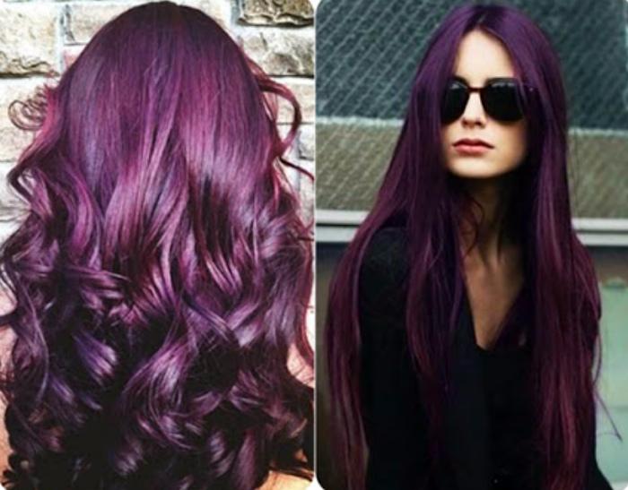 Фиолетовые волосы.