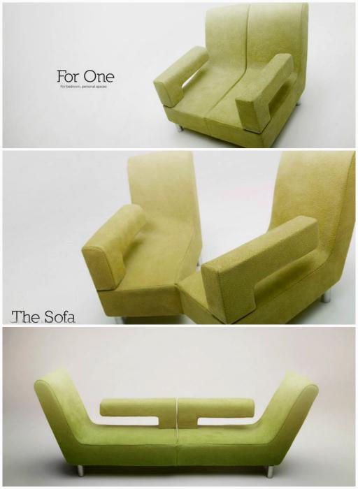 Кресло, трансформирующееся в диван.