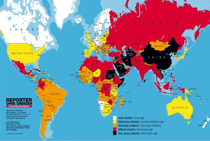 Карта, демонстрирующая уровень свободы прессы в разных странах.