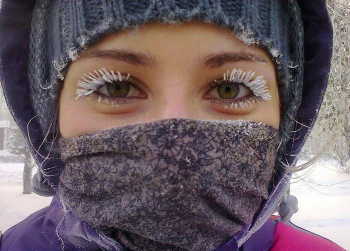 Как сообщает Novate.ru, в Сибири сейчас все ходят с белыми ресницами.
