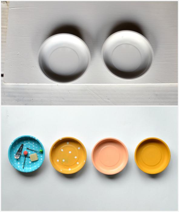 Декорированные магнитные тарелочки.