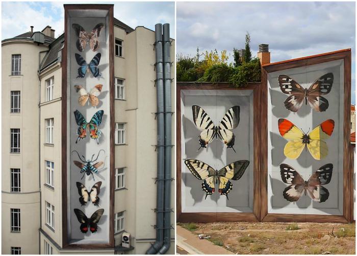 Объемные бабочки на фасаде жилого дома.