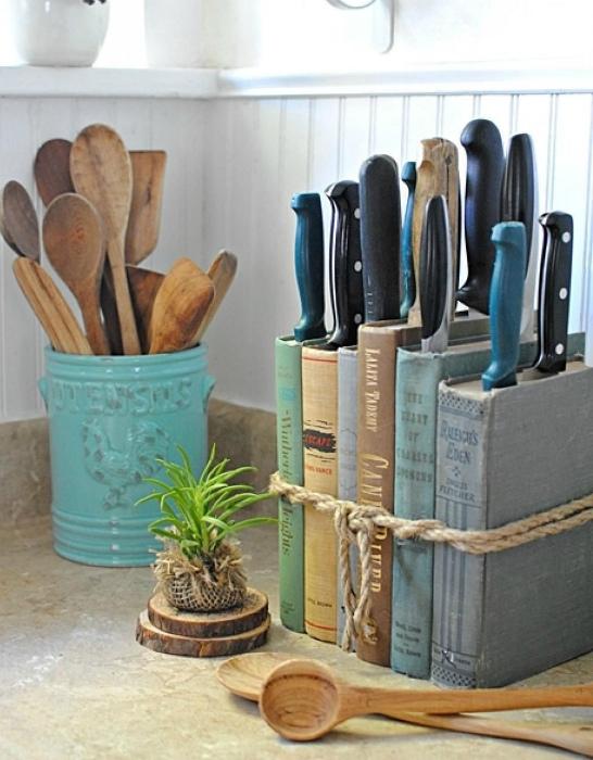 Необычная подставка для ножей. | Фото: Pinterest.