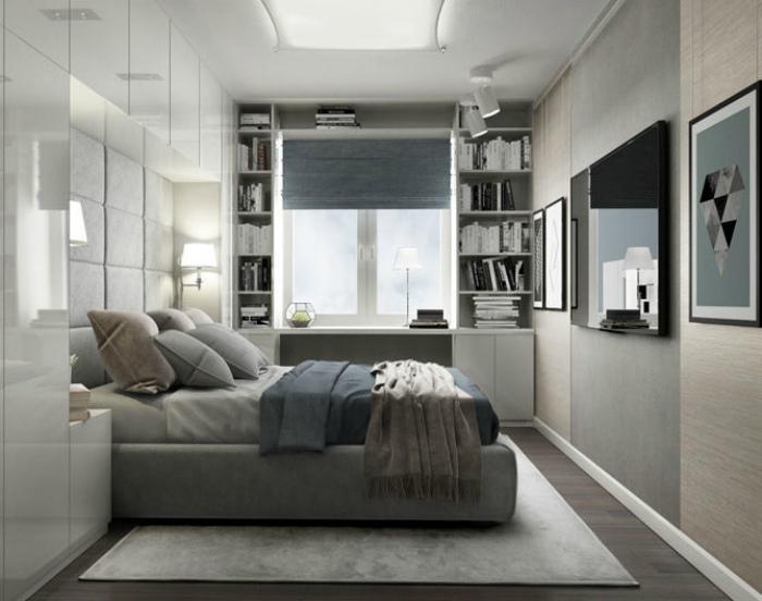 Элегантная спальня в серых тонах. | Фото: Intacya.