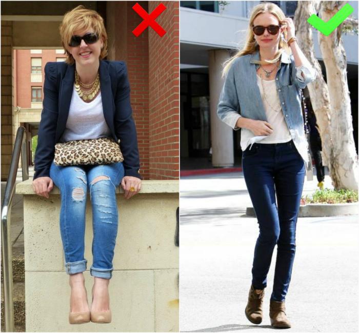 Рваные и потертые джинсы. | Фото: Как одеваться стильно женщинам.