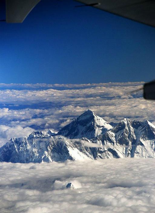 Вершина горы Эверест с высоты птичьего полета.