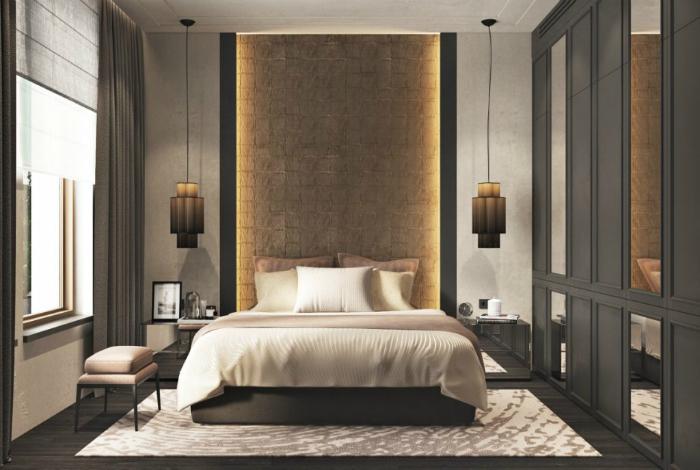 Контрастный интерьер спальни с удивительной подсветкой.