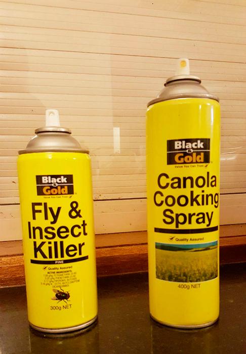 Спрей от насекомых и растительное масло, главное не перепутать.