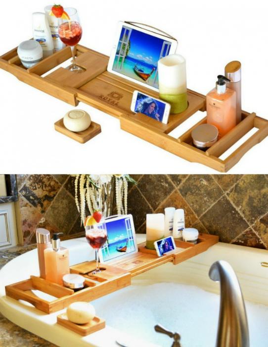 Деревянная полка для ванны.