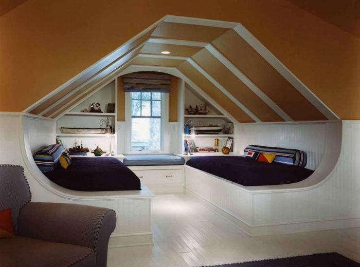 Спальня подростков на чердаке.