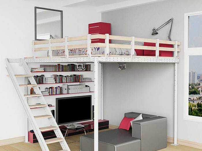Двухъярусная конструкция со спальным местом и зоной отдыха.