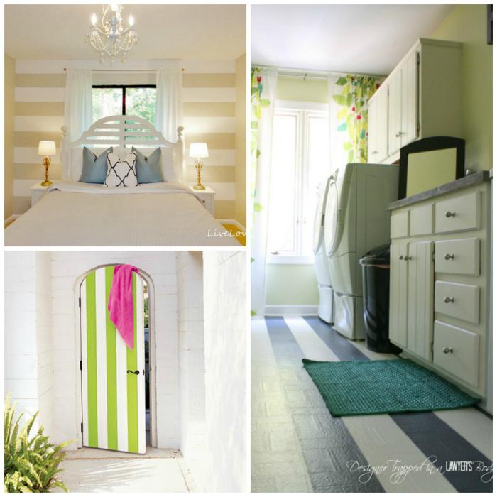 Чтобы освежить интерьер не обязательно менять покрытие пола или стен, достаточно просто декорировать устаревшие покрытия цветными широкими полосками.