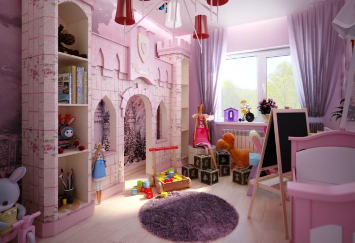Комната для девочки в нежных сиреневых тонах с декоративным замком из гипсокартона.