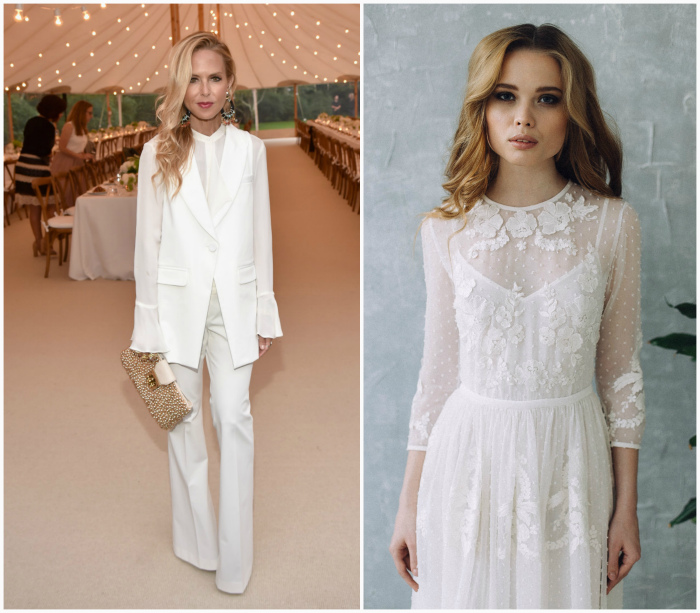 Белый цвет одежды.
