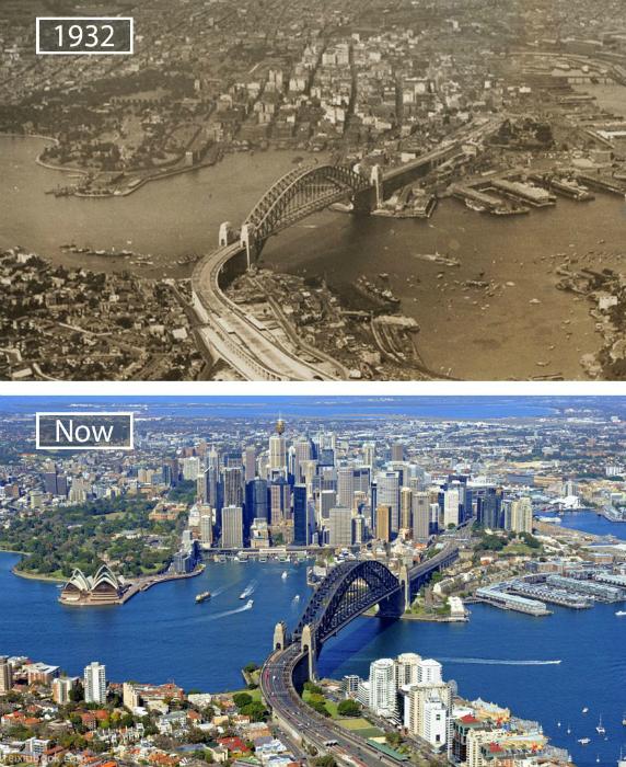 Сидней в 1932-ом и сейчас.