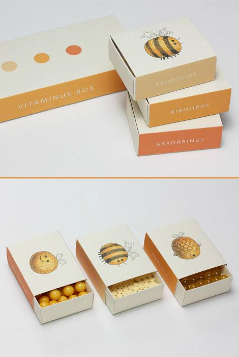 Упаковки для детских витамин. | Фото: Behance.
