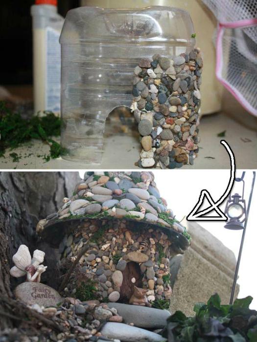 Сказочный домик из пластиковой бутылки.
