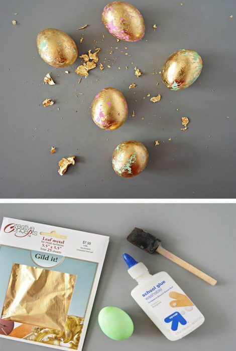 Декор яєць за допомогою золотої фольги.