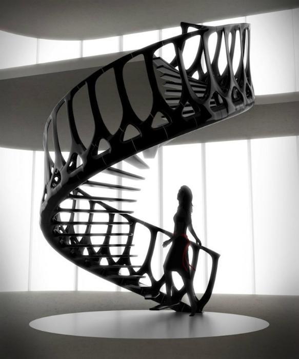 Винтовая лестница из металла.