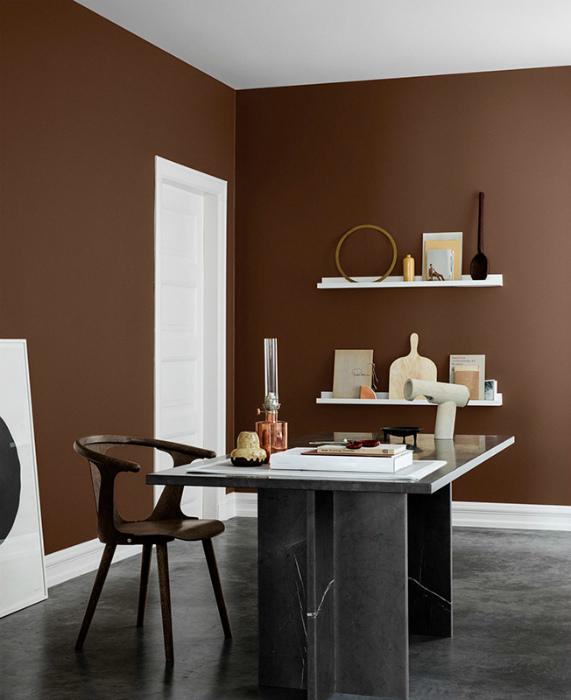 Кабинет с коричневыми стенами.