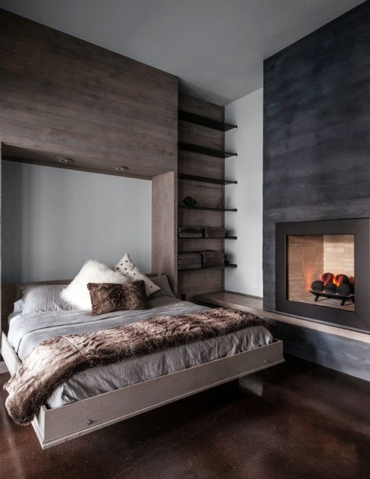 Откидная кровать в рустикальном стиле.