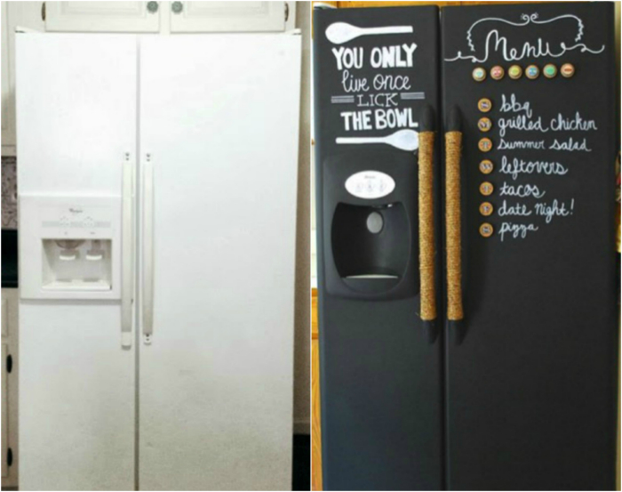 Холодильник, обклеенный грифельной бумагой.