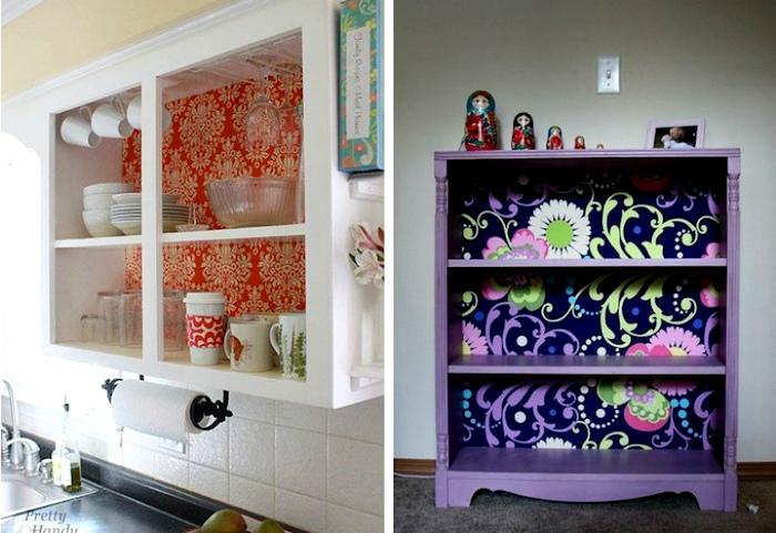Шкафчики с яркими задними стенами.