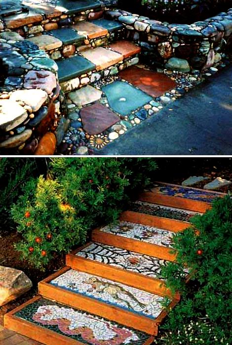 Ступени, украшенные мозаикой.