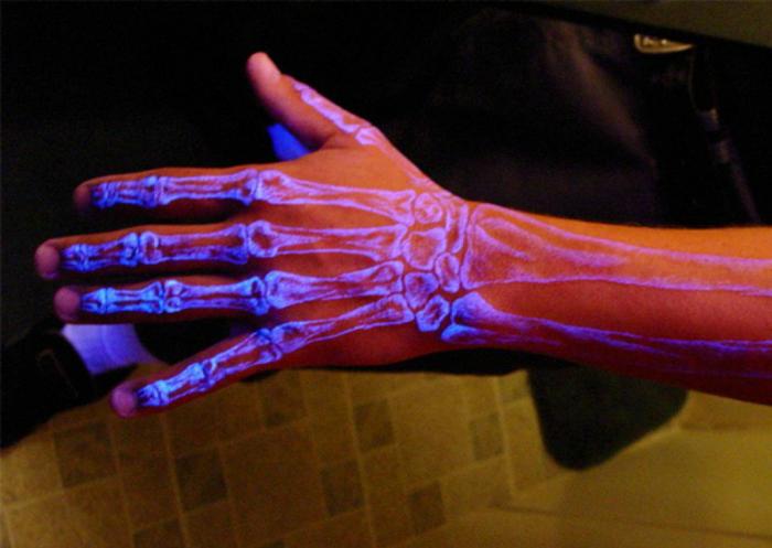 Флуоресцентная татуировка с изображением костей под кожей.