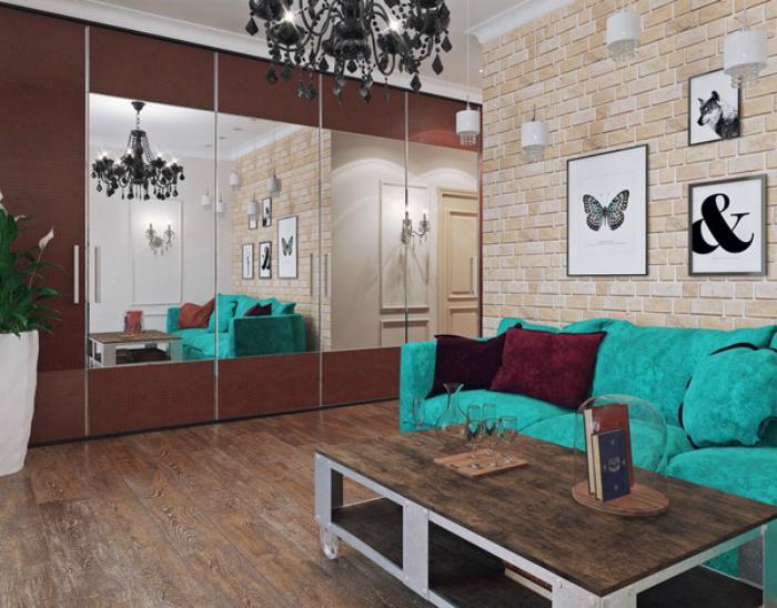 Светлая гостиная в стиле лофт. | Фото: Маленькие интерьеры.