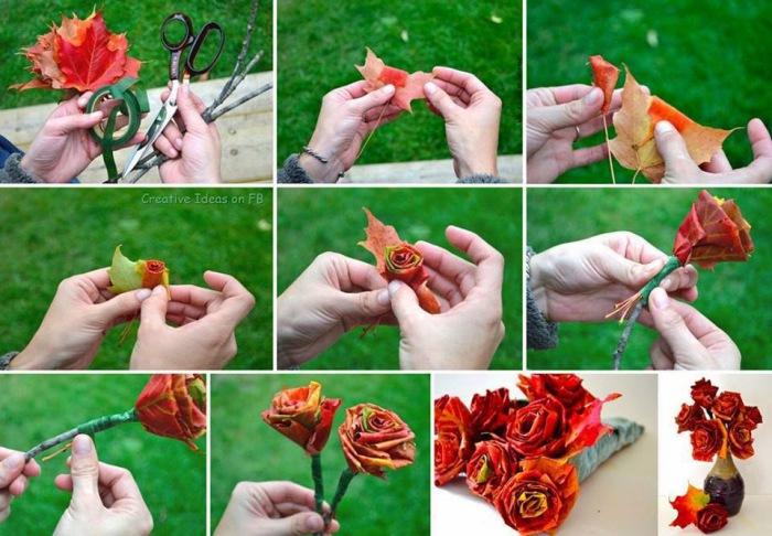 Потрясающие розы из желтых кленовых листьев.