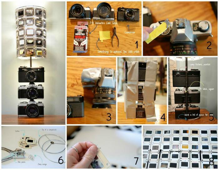 Лампа из старых фотоаппаратов.