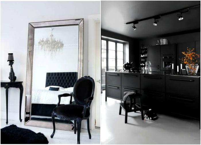 Черная мебель в интерьере.