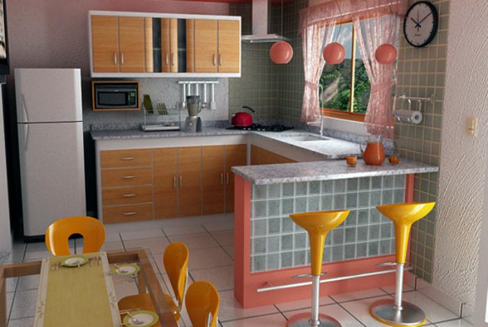 Оригинальный интерьер открытой кухни.