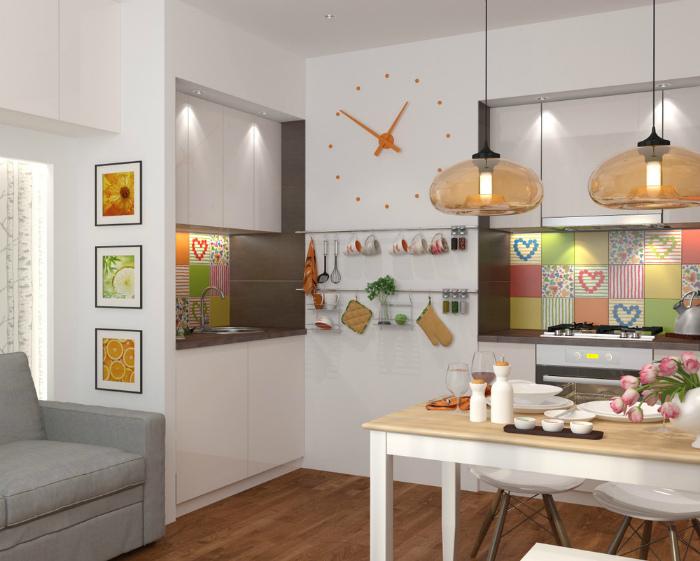 Кухня-гостиная с яркими деталями.