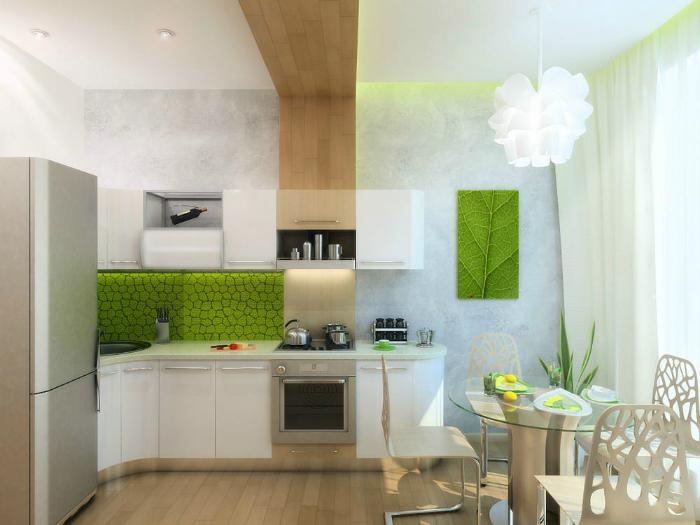 Кухня с деталями из натурального дерева.