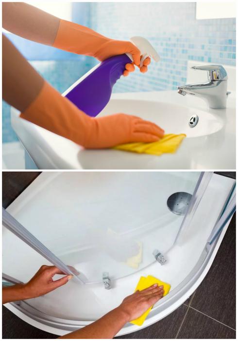 Пятиминутная уборка в ванной комнате.