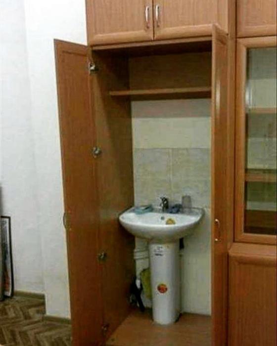 Оригинальное место для умывальника.