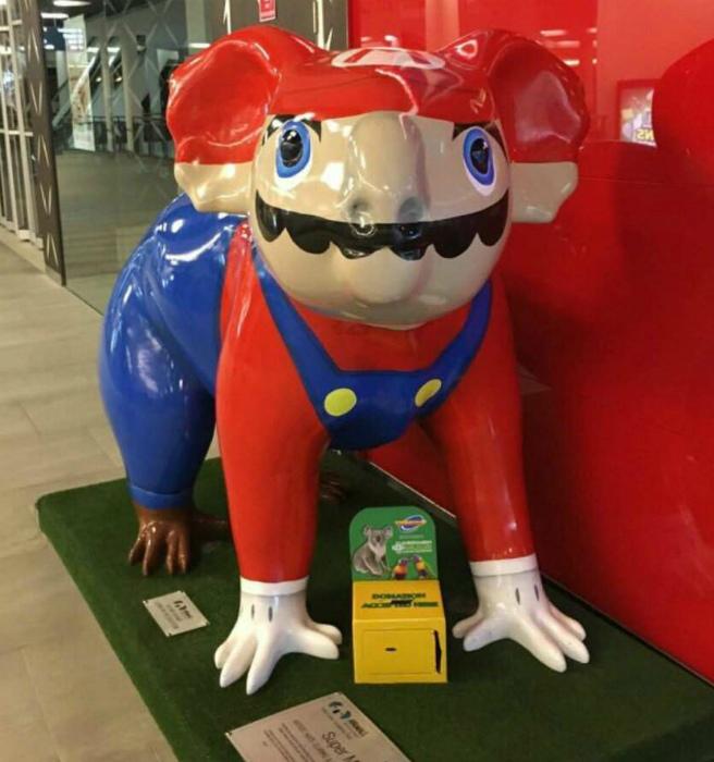Не Супер Марио, а крашеная коала!
