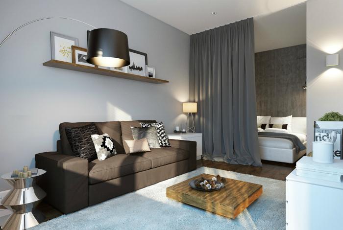 Квартира-студия в серых тонах.