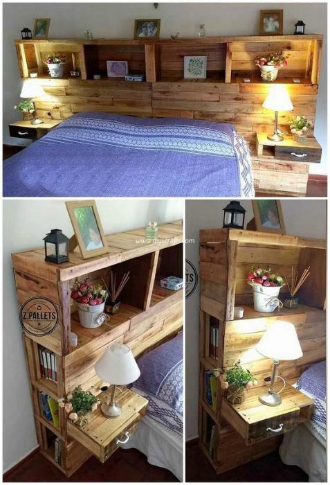 Функциональное изголовье кровати. | Фото: Pinterest.
