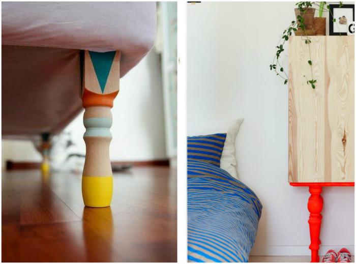 Ножки мебели, покрашенные в яркие цвета.