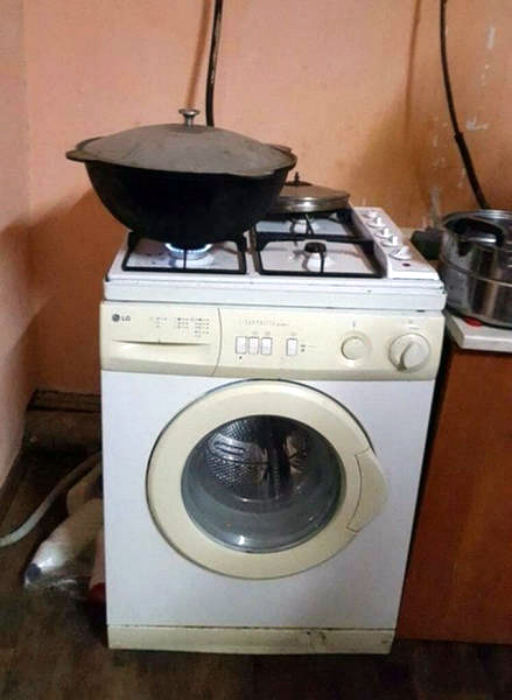 Стиральная машинка-плита.