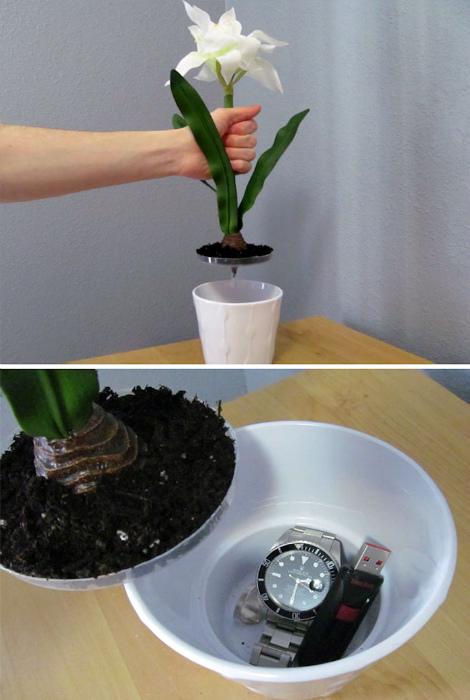 Фальшивый горшок для растения. | Фото: make-self.net.