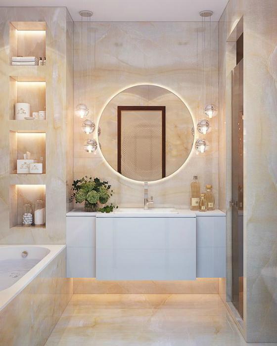 Крупноформатный керамогранит в ванной комнате. | Фото: Pinterest.
