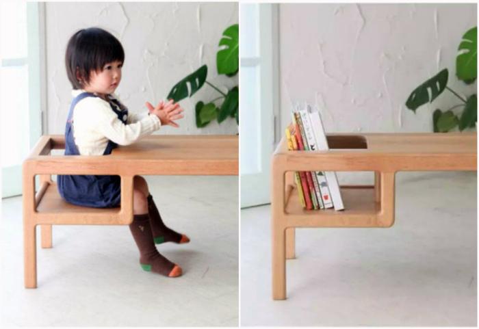 Узкий столик с полочкой-стульчиком.